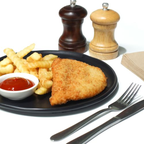 Chicken Schnitzel and chips