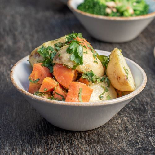 Roasted Chat Potatoes & Carrots
