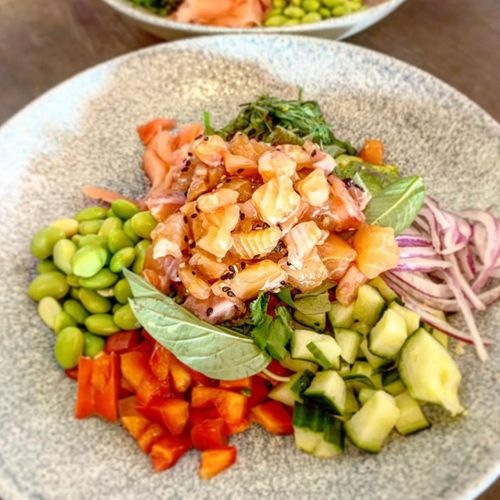 Raw Salmon Chirashi Salad Bowl