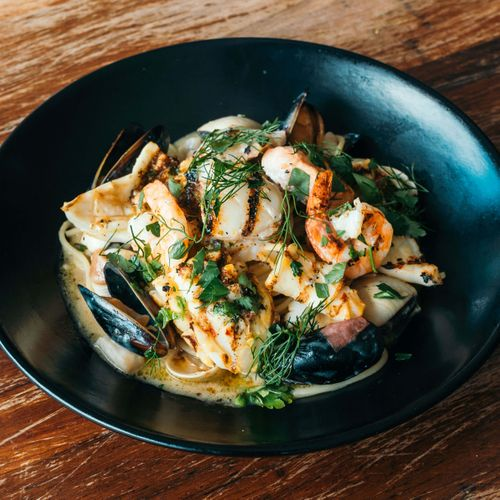 Char-Grilled Seafood Spaghetti