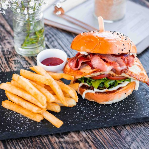 BBQ Chicken & Bacon Burger with Chips