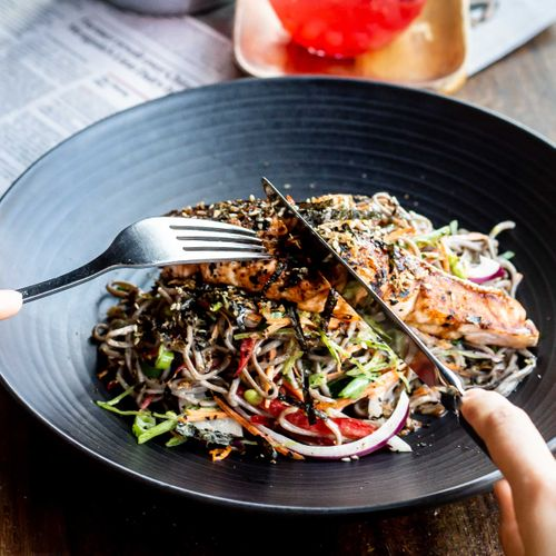Grill Salmon And Soba Noodle