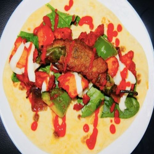 Indian Chilli Chicken With Stuffed Chilli Served With Roti Or Wrap