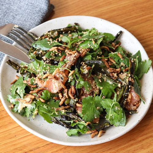 Charred Snake Bean Salad (Smoked Ocean Trout)