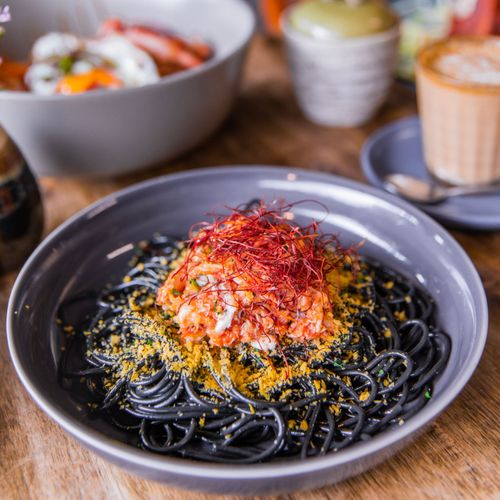Squid Ink Pasta w/ Chilli & Crab Meat