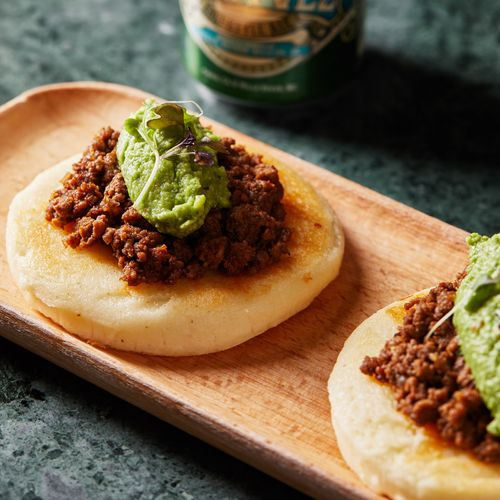 Carne Chilli Arepas With Guacamole & Cheese