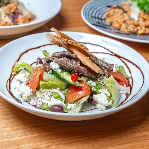 Greek Salad With Marinated Lamb