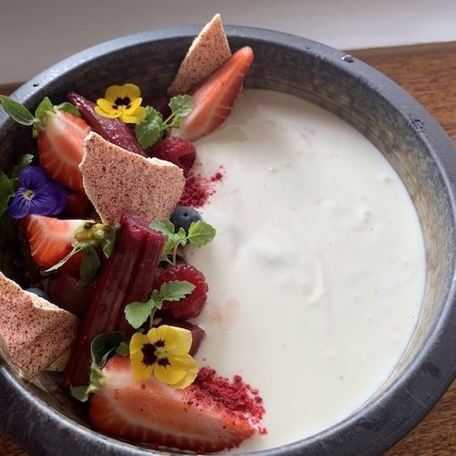 Rhubarb & Berry Yogurt Bowl