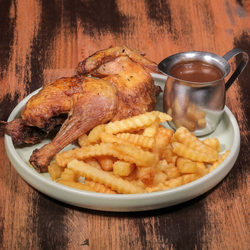 Half chook, small chips and gravy.